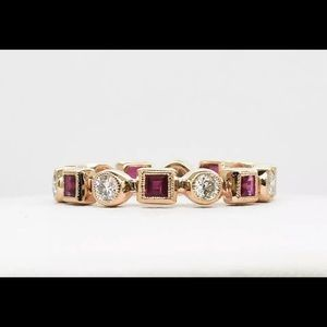 Jewelry - 14kt rose gold ruby/diamond eternity ring